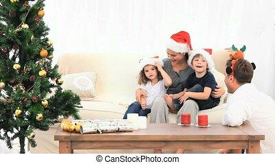 réception, claus, visite, santa, famille