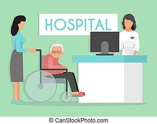 réception, fauteuil roulant, clinic., hôpital, personne agee, docteur, vecteur, médecine, patients., vieux, personne, illustration., attente, handicapé