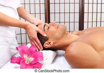 réception, jeune, masage, homme