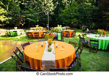 réception mariage, tables
