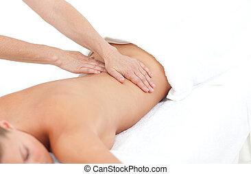 réception, massage dorsal, femme, jeune