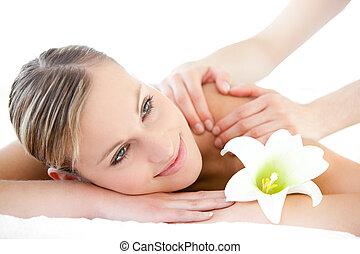 réception, mignon, massage dorsal, femme