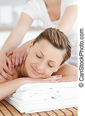 réception, sourire, dos, caucasien, masage, femme