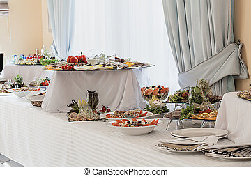 réception, table