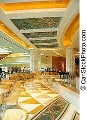 réception, vestibule, secteur, dans, luxueux, hôtel, dubai,...