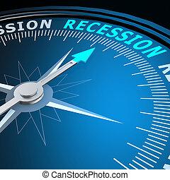 récession, mot, compas