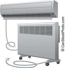 réchauffeur, huile, conditionnement, air