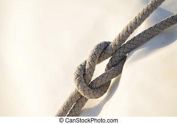 récif, noeud, ou, noeud carré, il, était, utilisé, par,...