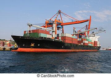 récipient bateau, port