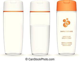récipient, bouteille, foam., (transparent)., liquide, shampoing, isolé, cosmétique, lotion, fond, blanc, bain