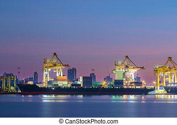 récipient, business, exportation, logistique, importation, bateau