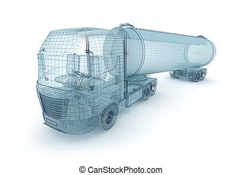 récipient, camion, cargaison, huile
