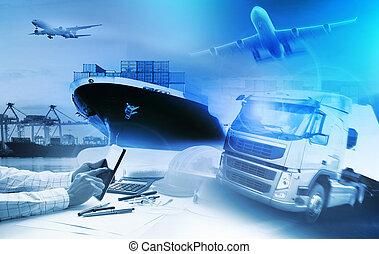 récipient, camion, dans, port, et, fret, avion cargaison, dans, transport, et, import-export, commercial, logistique, business, industrie