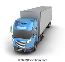récipient, camion, moderne, cargaison