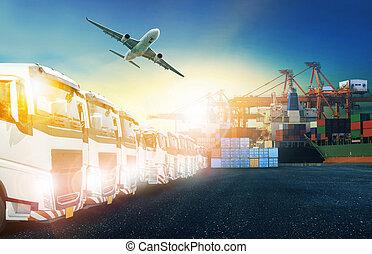 récipient cargaison, avion, camion, fret, port, transport