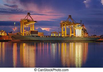 récipient, cargaison, bateau fret
