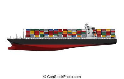 récipient cargaison, bateau, isolé
