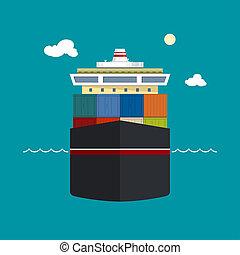 récipient cargaison, bateau, vue