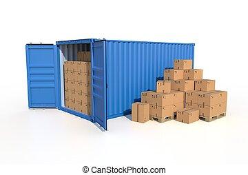 récipient cargaison, boîtes, bateau, carton, vue côté