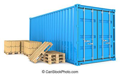 récipient cargaison, et, goods.