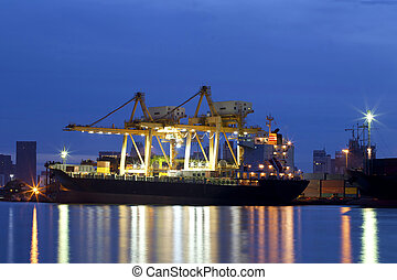 récipient cargaison, fonctionnement, fret, grue, bateau
