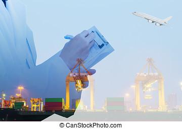 récipient cargaison, fonctionnement, loading., bateau fret, grue