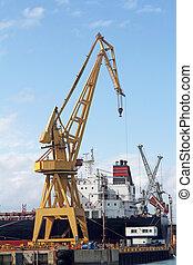 récipient cargaison, fonctionnement, pont, bateau fret, grue