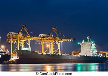 récipient cargaison, fonctionnement, pont, chantier naval, bateau fret, crépuscule, grue