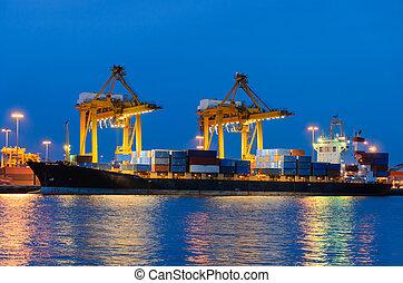 récipient cargaison, fonctionnement, pont, chantier naval, bateau fret, grue
