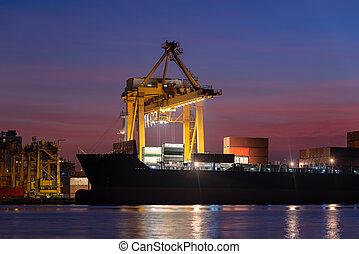 récipient cargaison, fonctionnement, pont, chantier naval, coucher soleil, bateau fret, grue
