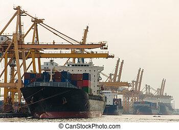 récipient cargaison, fonctionnement, pont, shipyard., bateau fret, grue