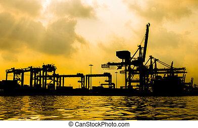 récipient cargaison, fonctionnement, pont, sunrise., chantier naval, fret, silhouette, bateau, grue