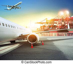 récipient cargaison, fond, business, aéroport, expédition, thème, avion, logistique, fret, port