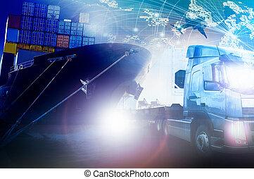 récipient cargaison, logistique, expédition, camion, fond,...