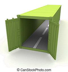 récipient cargaison, ouvert