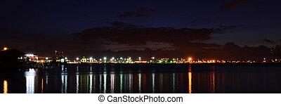 récipient cargaison, panorama, scène, matin, tôt, fret, port maritime