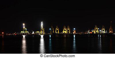 récipient cargaison, panorama, scène, port maritime, fret, nuit