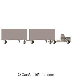 récipient cargaison, plat, isolé, expédition, côté, vecteur, camion, illustration, fond, transport, vue., blanc, caravane, icône