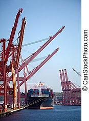 récipient, cargo, dans, port