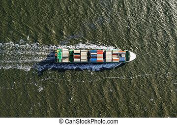 récipient, expédition, exportation, international, bateau, import., cargo.