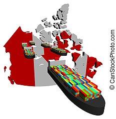 récipient, exportation, bateaux, canadien