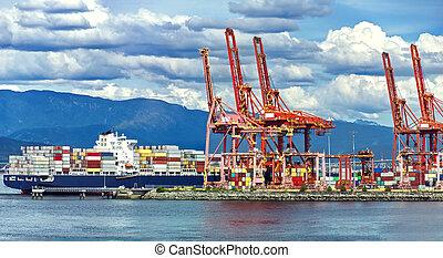 récipient, fond, coloré, rouges, nuageux, récipients, vancouver, port, mer, grues, bateau, ciel