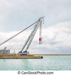 récipient, industriel, quai, boat., cargaison, grue, port, bateau, ou