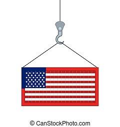 récipient, isolé, drapeau, usa