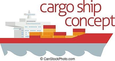 récipient, logistique, concept, cargo