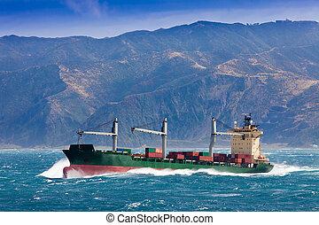 récipient, mer, orageux, fret, chargé, bateau
