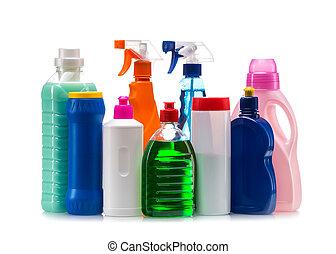récipient, nettoyage, plastique, produit