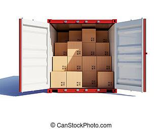 récipient, ouvert, cartons, cargaison