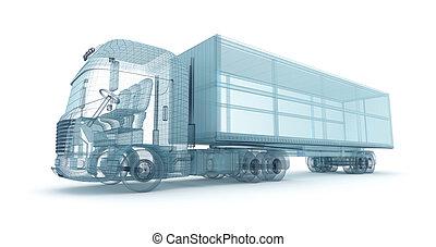 récipient, propre, cargaison, fil, camion, model., conception, mon