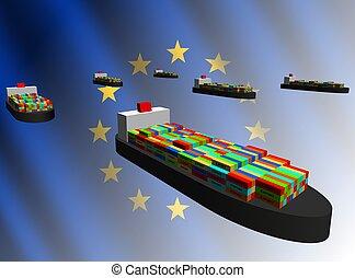récipient, union, bateaux, illustration, exportation, européen